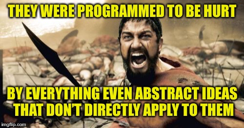 Sparta Leonidas Meme | THEY WERE PROGRAMMED TO BE HURT BY EVERYTHING EVEN ABSTRACT IDEAS THAT DON'T DIRECTLY APPLY TO THEM | image tagged in memes,sparta leonidas | made w/ Imgflip meme maker