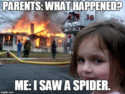 Disaster Girl | PARENTS: WHAT HAPPENED? ME: I SAW A SPIDER. | image tagged in memes,disaster girl | made w/ Imgflip meme maker