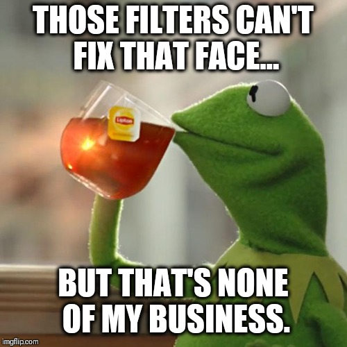 But Thats None Of My Business Meme | THOSE FILTERS CAN'T FIX THAT FACE... BUT THAT'S NONE OF MY BUSINESS. | image tagged in memes,but thats none of my business,kermit the frog | made w/ Imgflip meme maker