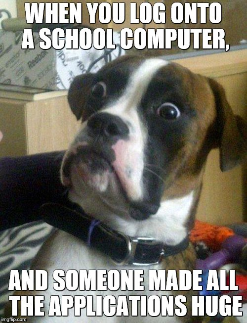 Huge Idiot | WHEN YOU LOG ONTO A SCHOOL COMPUTER, AND SOMEONE MADE ALL THE APPLICATIONS HUGE | image tagged in blankie the shocked dog,school,apps,funny dogs,people | made w/ Imgflip meme maker