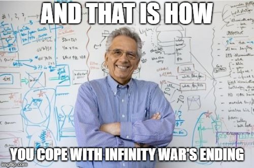Infinity War Professor |  AND THAT IS HOW; YOU COPE WITH INFINITY WAR'S ENDING | image tagged in memes,engineering professor,infinity war | made w/ Imgflip meme maker