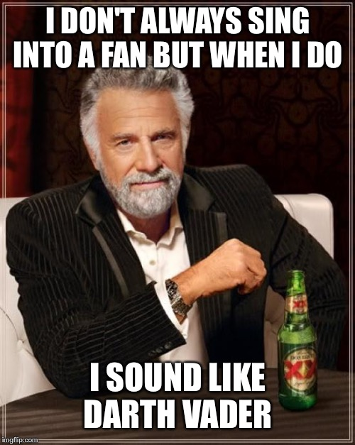 The Most Interesting Man In The World Meme | I DON'T ALWAYS SING INTO A FAN BUT WHEN I DO I SOUND LIKE DARTH VADER | image tagged in memes,the most interesting man in the world | made w/ Imgflip meme maker
