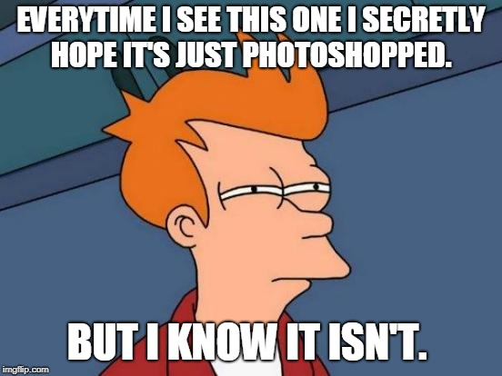 Futurama Fry Meme | EVERYTIME I SEE THIS ONE I SECRETLY HOPE IT'S JUST PHOTOSHOPPED. BUT I KNOW IT ISN'T. | image tagged in memes,futurama fry | made w/ Imgflip meme maker