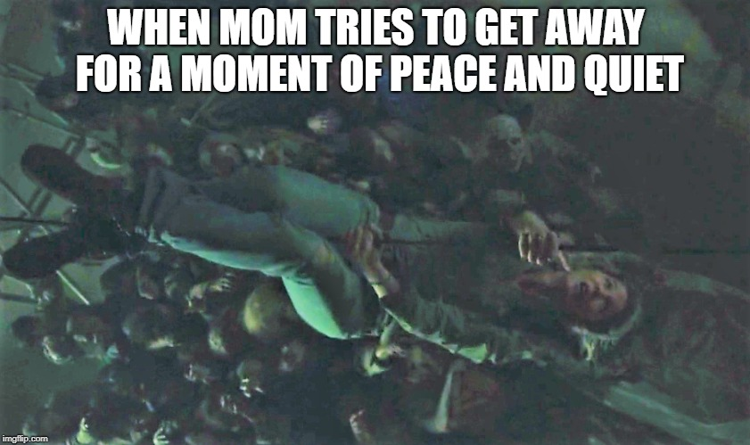 Getting away | WHEN MOM TRIES TO GET AWAY FOR A MOMENT OF PEACE AND QUIET | image tagged in mom,that moment when,humor,funny,funny memes,hysterical | made w/ Imgflip meme maker