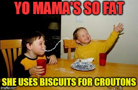 Yo Mamas So Fat Meme | YO MAMA'S SO FAT SHE USES BISCUITS FOR CROUTONS | image tagged in memes,yo mamas so fat | made w/ Imgflip meme maker