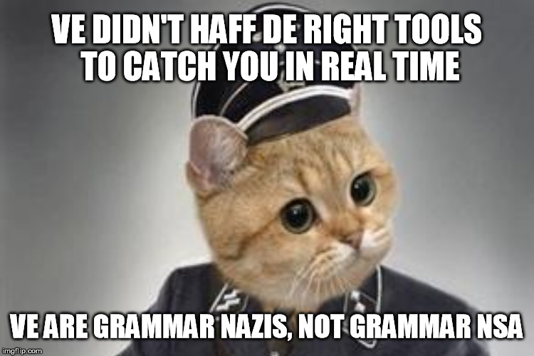 VE DIDN'T HAFF DE RIGHT TOOLS TO CATCH YOU IN REAL TIME VE ARE GRAMMAR NAZIS, NOT GRAMMAR NSA | made w/ Imgflip meme maker