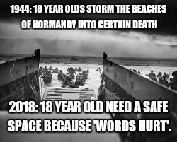 Normandy | 1944: 18 YEAR OLDS STORM THE BEACHES OF NORMANDY INTO CERTAIN DEATH 2018: 18 YEAR OLD NEED A SAFE SPACE BECAUSE 'WORDS HURT'. | image tagged in normandy | made w/ Imgflip meme maker