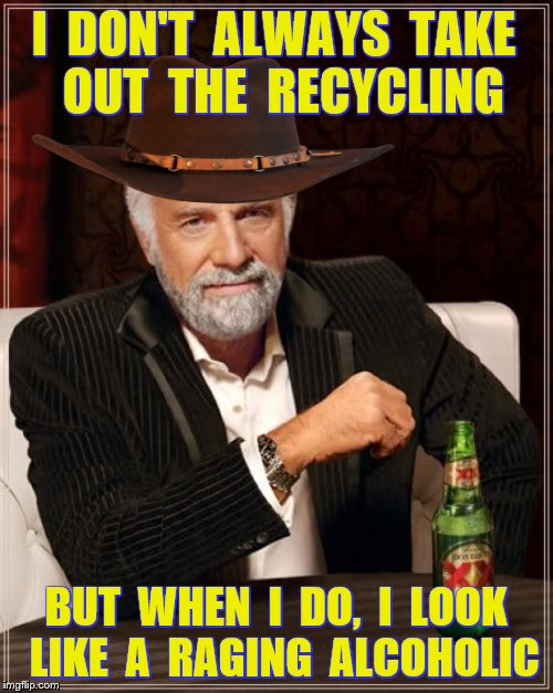 I  DON'T  ALWAYS  TAKE  OUT  THE  RECYCLING BUT  WHEN  I  DO,  I  LOOK  LIKE  A  RAGING  ALCOHOLIC | made w/ Imgflip meme maker