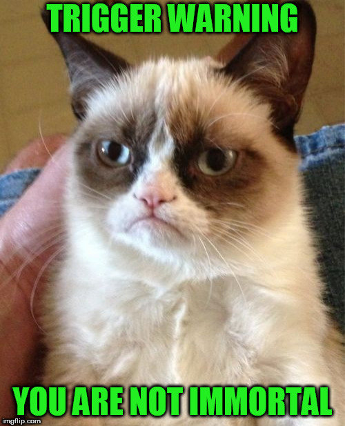 Grumpy Cat | TRIGGER WARNING YOU ARE NOT IMMORTAL | image tagged in memes,grumpy cat | made w/ Imgflip meme maker