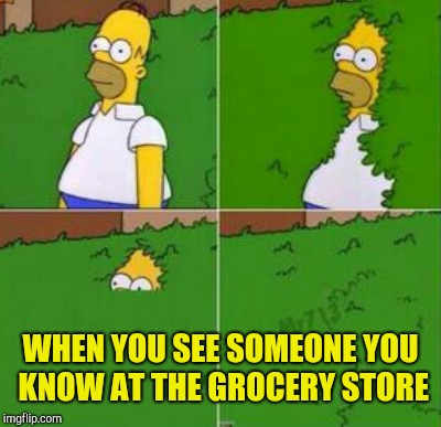 Homer hides | WHEN YOU SEE SOMEONE YOU KNOW AT THE GROCERY STORE | image tagged in homer simpson | made w/ Imgflip meme maker
