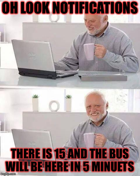 Oh the glory....  | OH LOOK NOTIFICATIONS THERE IS 15 AND THE BUS WILL BE HERE IN 5 MINUETS | image tagged in memes,hide the pain harold,meme,masqurade_,school,notifications | made w/ Imgflip meme maker