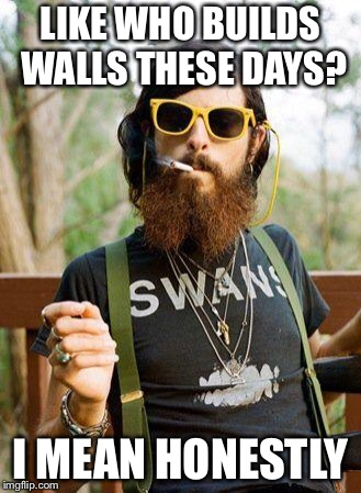 hipster | LIKE WHO BUILDS WALLS THESE DAYS? I MEAN HONESTLY | image tagged in hipster | made w/ Imgflip meme maker