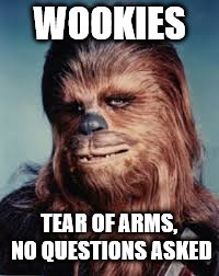 WOOKIES TEAR OF ARMS, NO QUESTIONS ASKED | made w/ Imgflip meme maker
