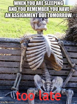 Sunday nights be like | WHEN YOU ARE SLEEPING AND YOU REMEMBER YOU HAVE AN ASSIGNMENT DUE TOMORROW. too late | image tagged in memes,waiting skeleton | made w/ Imgflip meme maker