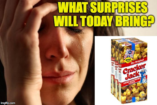 First World Problems Meme | WHAT SURPRISES WILL TODAY BRING? | image tagged in memes,first world problems | made w/ Imgflip meme maker