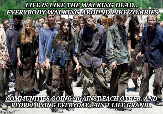 Walking dead meme | LIFE IS LIKE THE WALKING DEAD.. EVERYBODY WALKING AROUND LIKE ZOMBIES COMMUNITIES GOING AGAINST EACH OTHER. AND PEOPLE DYING EVERYDAY.. AIN' | image tagged in walking dead meme | made w/ Imgflip meme maker