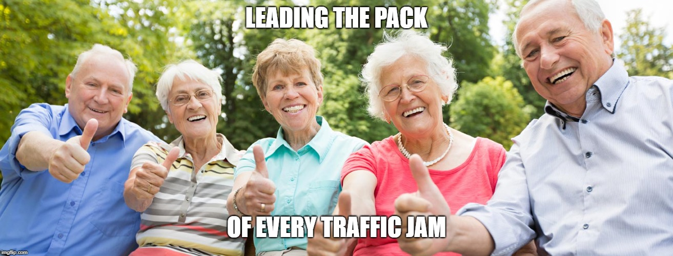 LEADING THE PACK OF EVERY TRAFFIC JAM | image tagged in seniors approve | made w/ Imgflip meme maker