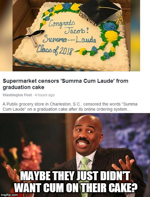 Censored Cake | MAYBE THEY JUST DIDN'T WANT CUM ON THEIR CAKE? | image tagged in nsfw,the cake is a lie,steve harvey,censored | made w/ Imgflip meme maker