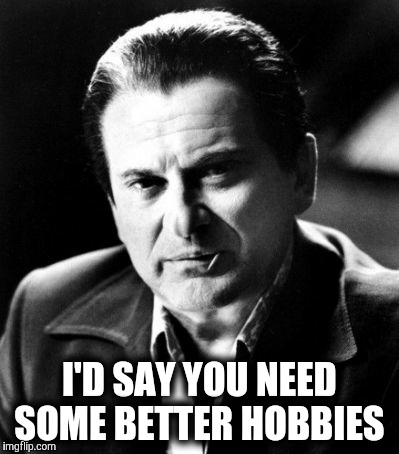 Joe Pesci sez,,, | I'D SAY YOU NEED SOME BETTER HOBBIES | image tagged in joe pesci sez | made w/ Imgflip meme maker