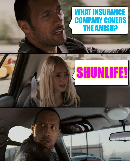 The Rock Driving Meme | WHAT INSURANCE COMPANY COVERS THE AMISH? SHUNLIFE! | image tagged in memes,the rock driving | made w/ Imgflip meme maker