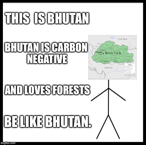 Be Like Bill Meme | THIS  IS BHUTAN BHUTAN IS CARBON NEGATIVE AND LOVES FORESTS BE LIKE BHUTAN. | image tagged in memes,be like bill | made w/ Imgflip meme maker
