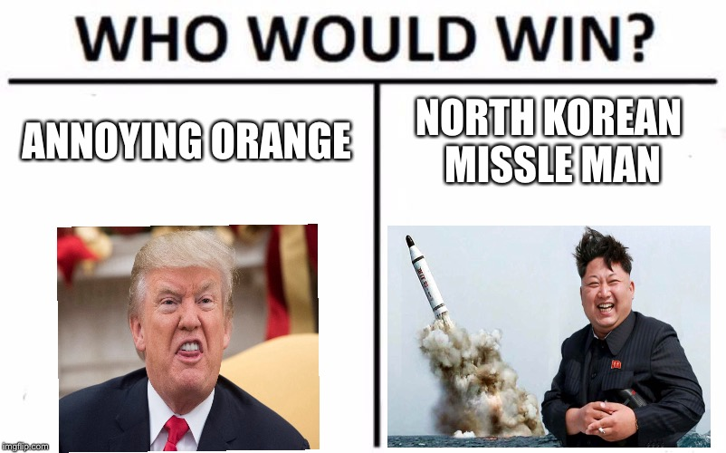 Who Would Win? | ANNOYING ORANGE NORTH KOREAN MISSLE MAN | image tagged in memes,who would win | made w/ Imgflip meme maker