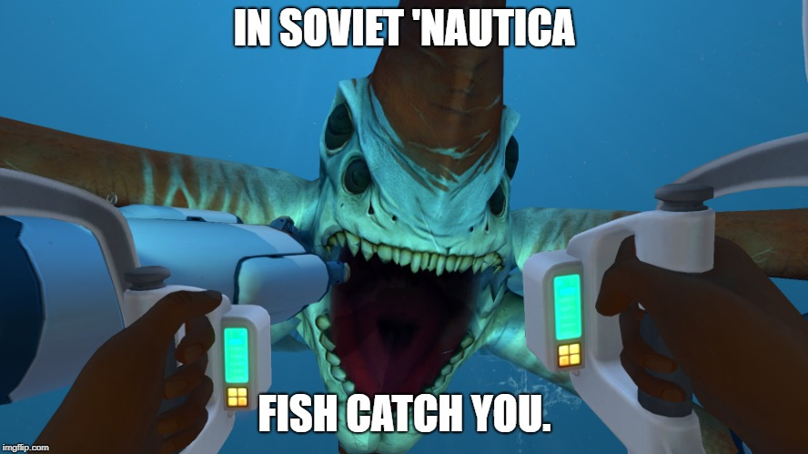 In Soviet 'Nautica | IN SOVIET 'NAUTICA FISH CATCH YOU. | image tagged in subnautica,in soviet russia | made w/ Imgflip meme maker