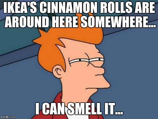 Futurama Fry Meme | IKEA'S CINNAMON ROLLS ARE AROUND HERE SOMEWHERE... I CAN SMELL IT... | image tagged in memes,futurama fry | made w/ Imgflip meme maker