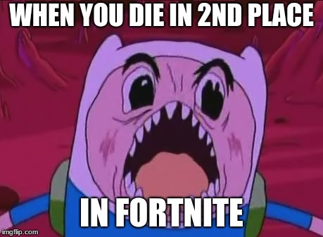 Finn The Human | WHEN YOU DIE IN 2ND PLACE IN FORTNITE | image tagged in memes,finn the human | made w/ Imgflip meme maker