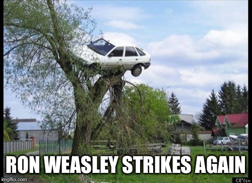 WTF Ron?!?! | RON WEASLEY STRIKES AGAIN | image tagged in memes,secure parking,harry potter,ron weasley | made w/ Imgflip meme maker