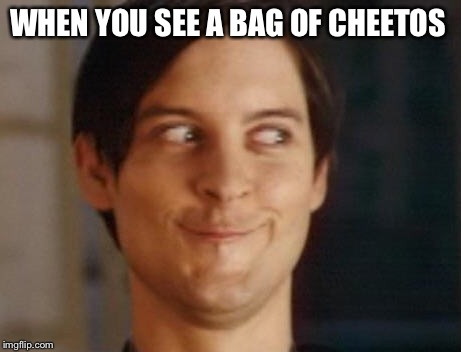 Spiderman Peter Parker Meme | WHEN YOU SEE A BAG OF CHEETOS | image tagged in memes,spiderman peter parker | made w/ Imgflip meme maker