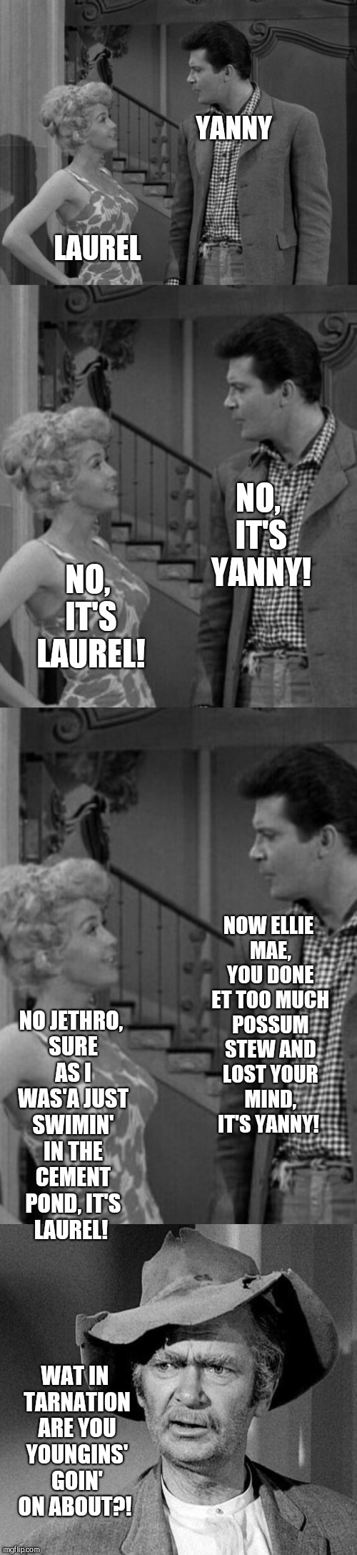 Yanny Vs Laurel, Beverly Hillbillies edition  | YANNY LAUREL NO, IT'S YANNY! NO, IT'S LAUREL! NOW ELLIE MAE, YOU DONE ET TOO MUCH POSSUM STEW AND LOST YOUR MIND, IT'S YANNY! NO JETHRO, SUR | image tagged in jbmemegeek,yanny vs laurel,beverly hillbillies,memes | made w/ Imgflip meme maker