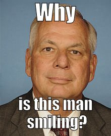 Gene Green professional lawmaker | Why is this man smiling? | image tagged in gene green professional lawmaker | made w/ Imgflip meme maker