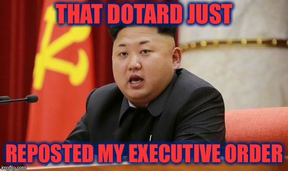Kim Jong Un | THAT DOTARD JUST REPOSTED MY EXECUTIVE ORDER | image tagged in kim jong un | made w/ Imgflip meme maker