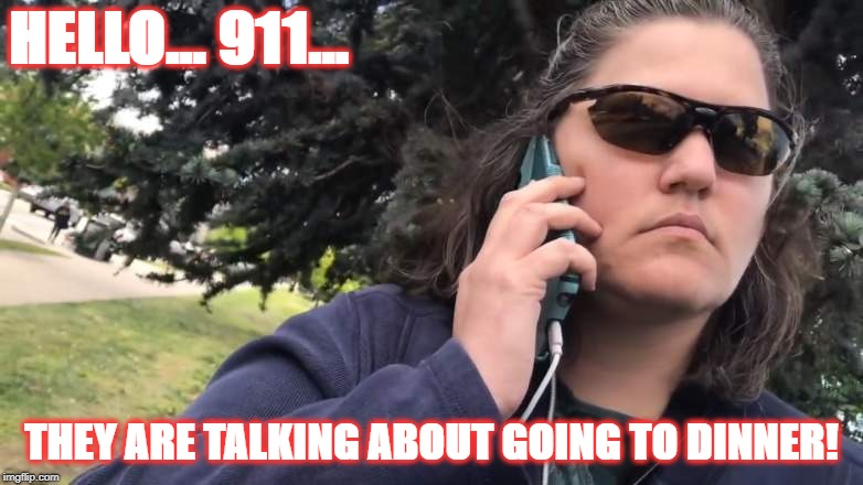 Dinner | HELLO... 911... THEY ARE TALKING ABOUT GOING TO DINNER! | image tagged in 911,jennifer schulte | made w/ Imgflip meme maker
