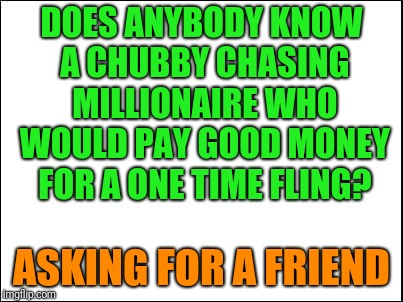 blank | DOES ANYBODY KNOW A CHUBBY CHASING MILLIONAIRE WHO WOULD PAY GOOD MONEY FOR A ONE TIME FLING? ASKING FOR A FRIEND | image tagged in blank | made w/ Imgflip meme maker