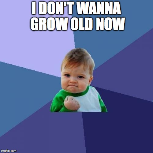 Success Kid Meme | I DON'T WANNA GROW OLD NOW | image tagged in memes,success kid | made w/ Imgflip meme maker