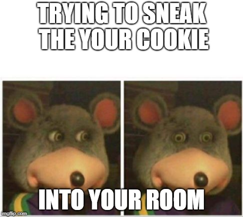 chuck e cheese rat stare | TRYING TO SNEAK THE YOUR COOKIE INTO YOUR ROOM | image tagged in chuck e cheese rat stare | made w/ Imgflip meme maker