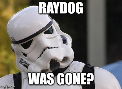 Confused stormtrooper | RAYDOG WAS GONE? | image tagged in confused stormtrooper | made w/ Imgflip meme maker