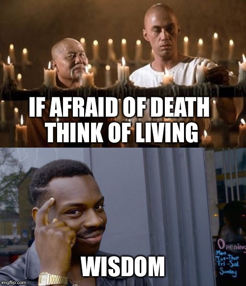 Kung Fu Caine |  IF AFRAID OF DEATH THINK OF LIVING; WISDOM | image tagged in kung fu,roll safe think about it,wisdom,knowledge | made w/ Imgflip meme maker