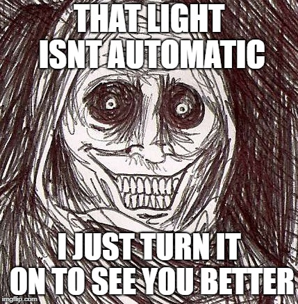 Unwanted House Guest Meme | THAT LIGHT ISNT AUTOMATIC I JUST TURN IT ON TO SEE YOU BETTER | image tagged in memes,unwanted house guest | made w/ Imgflip meme maker