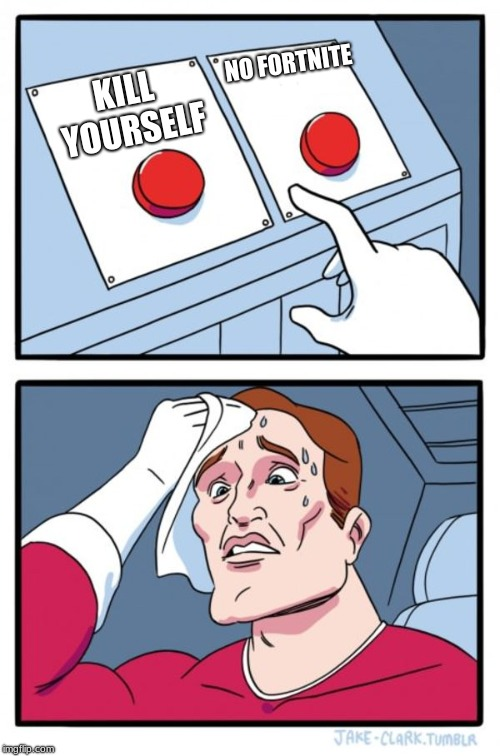 hardest choice ever | KILL YOURSELF NO FORTNITE | image tagged in memes,two buttons,fortnite,fortnite meme,hard choice to make,choices | made w/ Imgflip meme maker