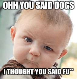 Skeptical Baby Meme | OHH YOU SAID DOGS I THOUGHT YOU SAID FU** | image tagged in memes,skeptical baby | made w/ Imgflip meme maker