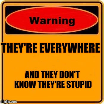 THEY'RE EVERYWHERE AND THEY DON'T KNOW THEY'RE STUPID | image tagged in troll warning | made w/ Imgflip meme maker