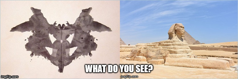 What do you see? | WHAT DO YOU SEE? | image tagged in the great sphinx,rorschach blot,psychology,construction,egypt | made w/ Imgflip meme maker