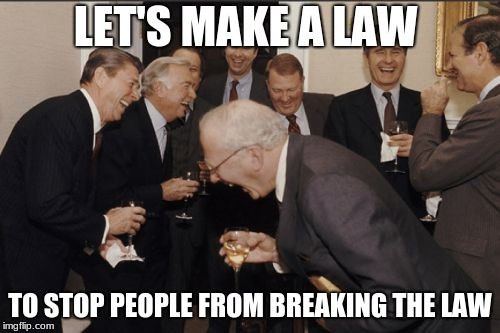 Politics | LET'S MAKE A LAW TO STOP PEOPLE FROM BREAKING THE LAW | image tagged in memes,laughing men in suits,laws | made w/ Imgflip meme maker