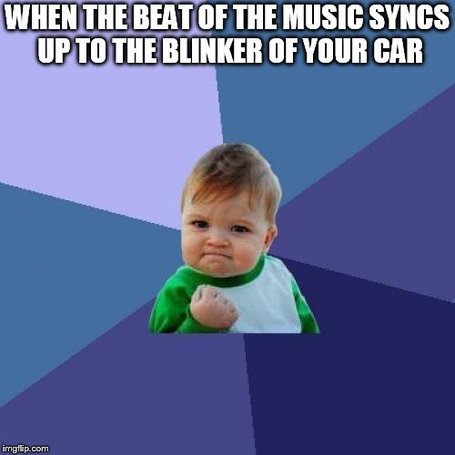 Success Kid Meme | WHEN THE BEAT OF THE MUSIC SYNCS UP TO THE BLINKER OF YOUR CAR | image tagged in memes,success kid | made w/ Imgflip meme maker