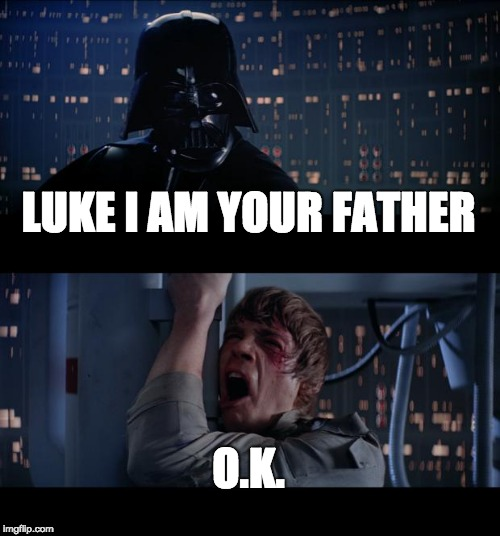 Star Wars No Meme | LUKE I AM YOUR FATHER O.K. | image tagged in memes,star wars no | made w/ Imgflip meme maker