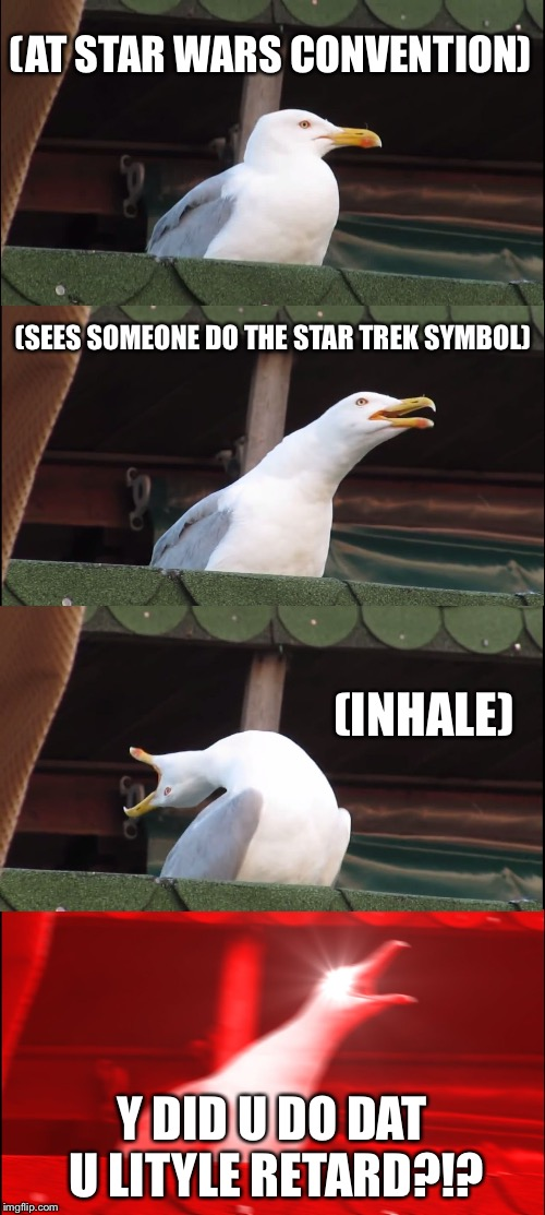 Star Wars | (AT STAR WARS CONVENTION) (SEES SOMEONE DO THE STAR TREK SYMBOL) (INHALE) Y DID U DO DAT U LITYLE RETARD?!? | image tagged in memes,inhaling seagull | made w/ Imgflip meme maker