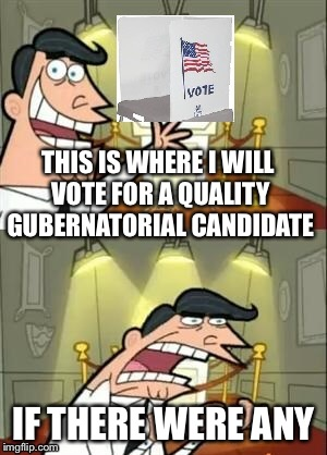 Primaries are coming up | THIS IS WHERE I WILL VOTE FOR A QUALITY GUBERNATORIAL CANDIDATE IF THERE WERE ANY | image tagged in memes,election | made w/ Imgflip meme maker